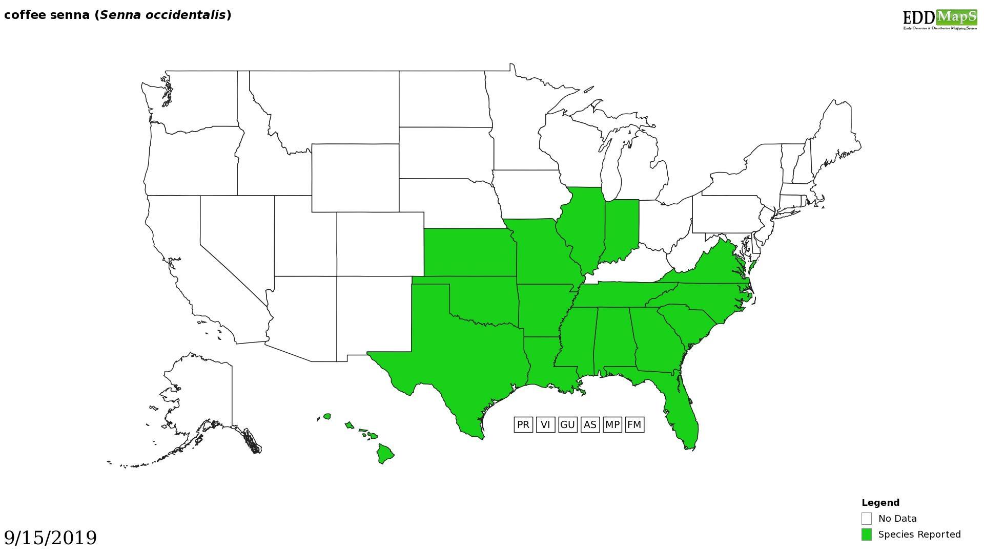 Coffee senna distribution - United States