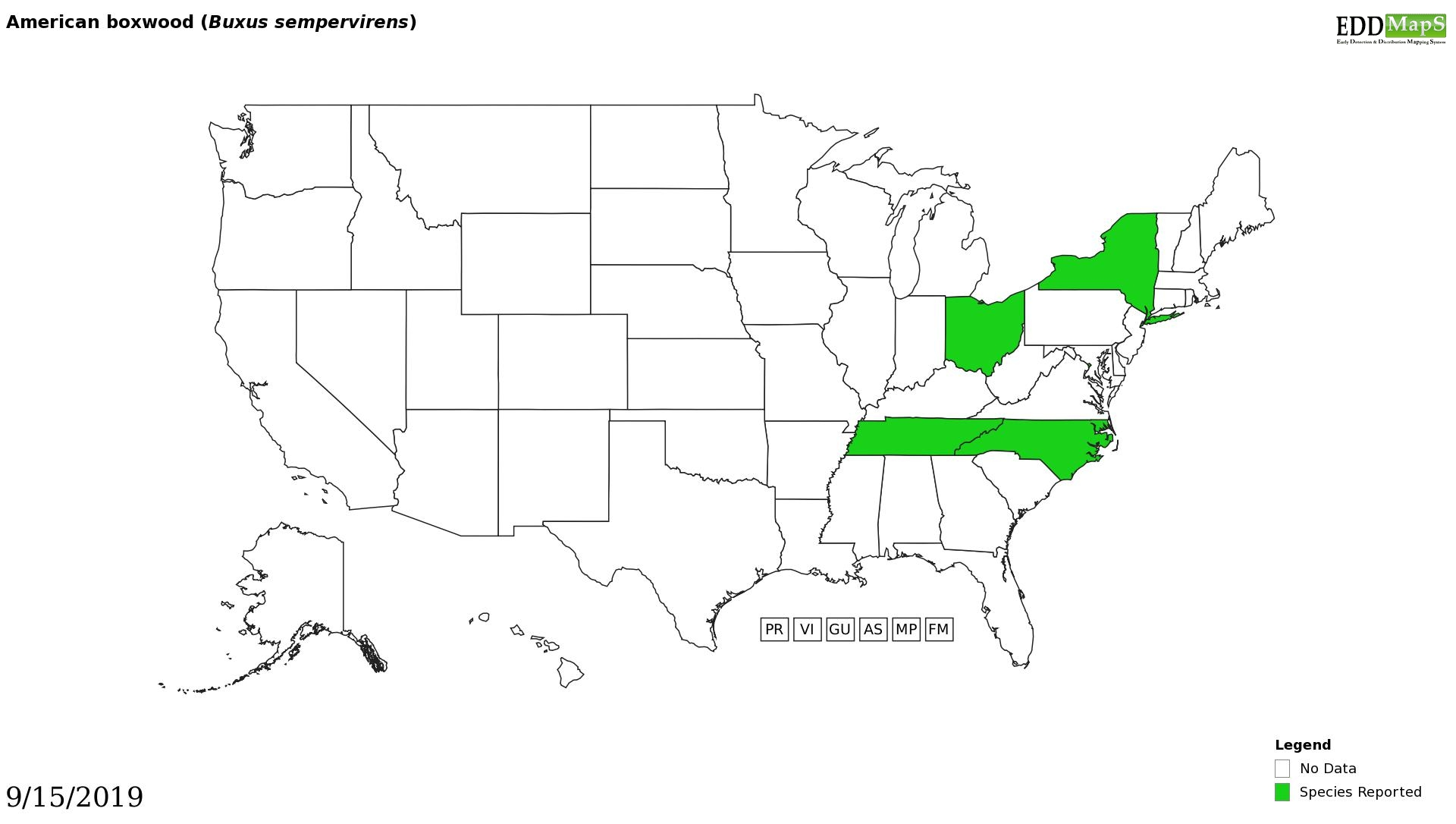 Boxwood distribution - United States