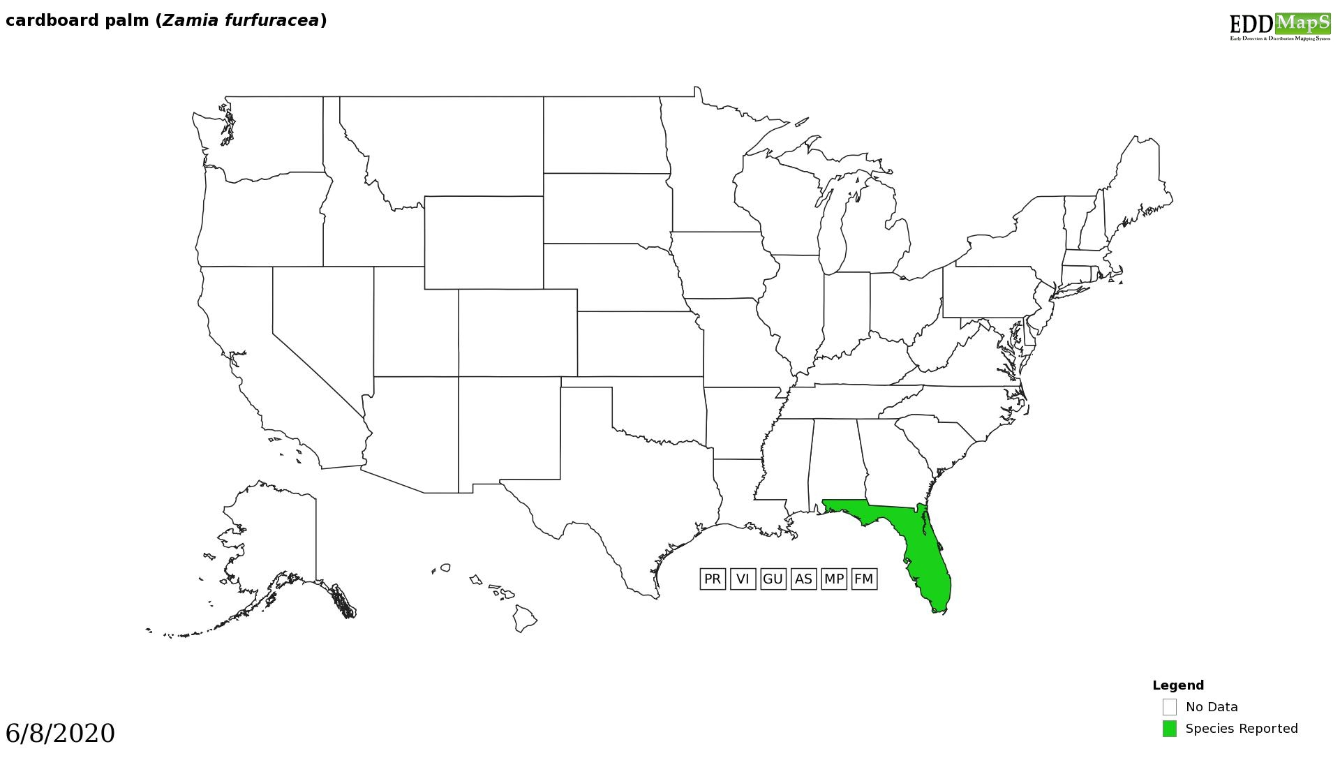 Coontie distribution - United States