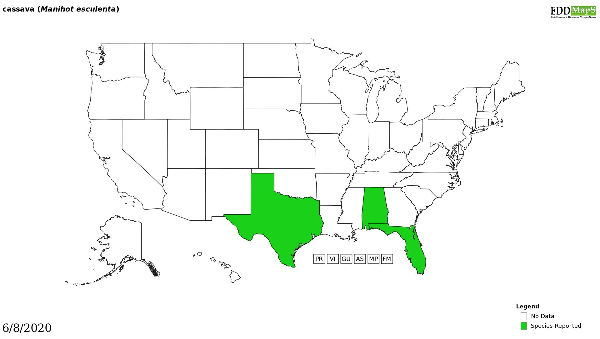 Cassava distribution - United States